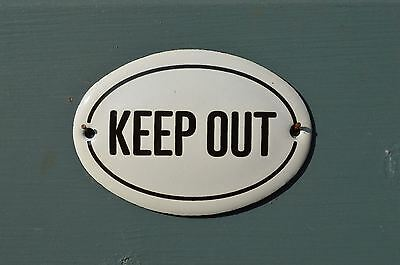 Small Oval Enamel Metal Keep Out Door Sign Plaque Door Sign Enameled Sign