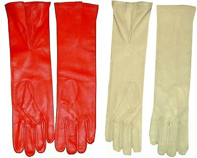 8-11 Unisex Real Lambskin Leather Elbow V Steampunk Gloves Red Cream Gothic