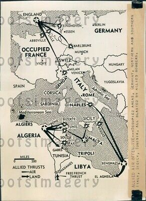 1942 WWII Activity Map Allied Air Offensive Europe Press Photo