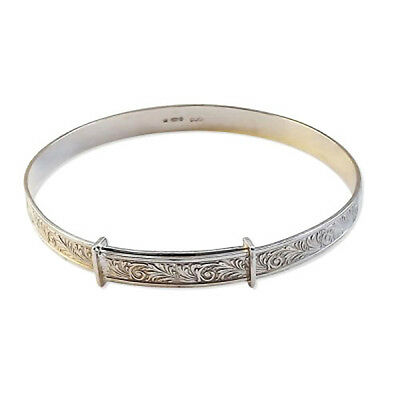 "6mm Sterling Silver Ladies Expanding Bangles Engraved 12g Bracelet 8.5"" X Large"