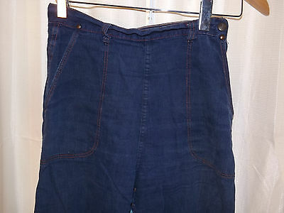 Vtg 40s 50s Womens 28 Waist TRASHED PATCHED RED STITCH DENIM JEANS Side Zip Snap