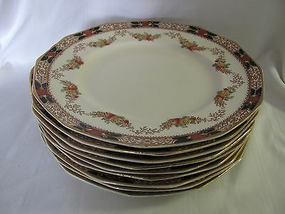 Booths 9 salad dessert plates Silicon China England Old Time Imari style 1920's