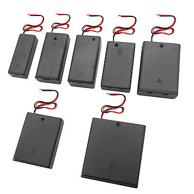 On Off Switch Battery Box Holder Case 2 3 4 AA AAA 2A 3A 3V Leads lid Cover LOT