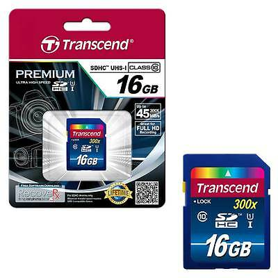 NEW 16GB Transcend Premium SDHC SD Memory Card UHS-1 Class 10 45MB/s - 16GB