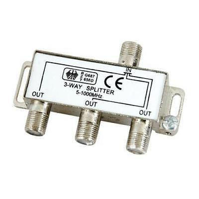 Lloytron A408 3 Way Satellite Cable Splitter F Connector Fittings 5-1000Mhz New
