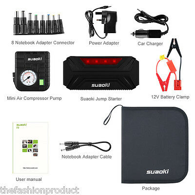 12000mAh Portable 12V Car Jump Starter Jumper Booster 3 USB Battery Charger Pack
