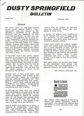 Dusty Springfield Bulletin Issue Two  February 1988