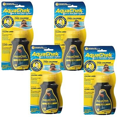 4 PACK Aquachek 4 Way Chlorine Test Strips Hot Tub Pool