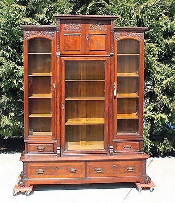 Victorian Aesthetic Walnut & Burl Triple Door Bookcase with Drawers & Key c1875