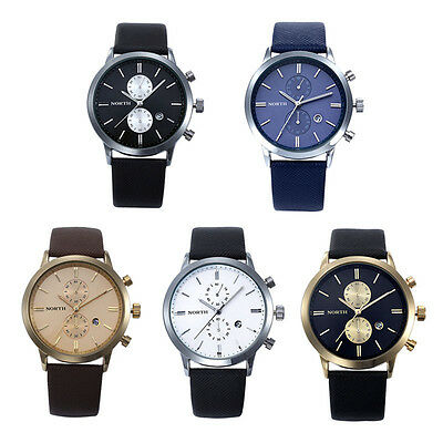 1PC Fashion Men Casual Waterproof Date Leather Military Japan Watch Gift Salable