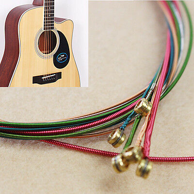 New 1 Set 6 pcs Rainbow Colorful Color Strings for Acoustic Guitar Accessories