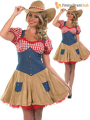 Cowgirl Costume Ladies Womens Fancy Dress Wild West Cowboy Outfit UK 8 - 18