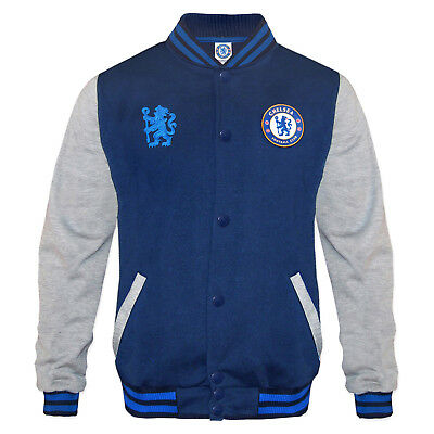 Chelsea FC Official Football Gift Boys Retro Varsity Baseball Jacket Navy