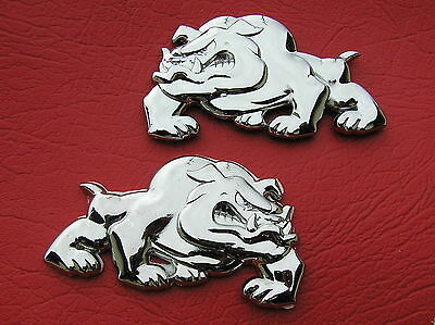 UK ~ BRITISH BULLDOG PAIR BADGES Chrome Metal Emblems *NEW & UNIQUE* Bull Dog