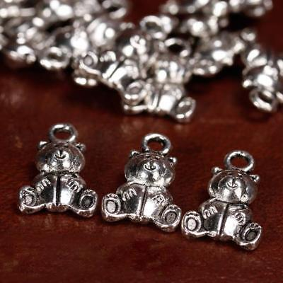 20pcs Antique Silver Plt 3D TEDDY Bear Charms Pendants 1.6cm free Lead Findings