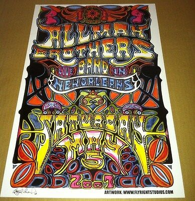 ALLMAN BROTHERS Concert Gig TOUR CARD STOCK Poster 2001 with facsimile SIGNATURE