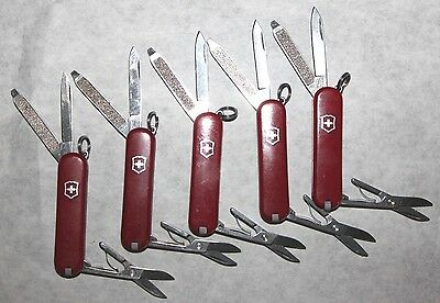 Lot of 5 Complete Victorinox Classic SD Swiss Army Knives - All Red - No Logos