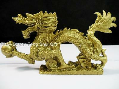 Chinese Oriental Asian Lucky Feng Shui Brass Tone Dragon Year Figurine Statue #G