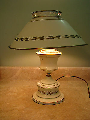 FRENCH COUNTRY Cream/Ivory METAL TOLE WARE LAMP Missing Hurricane Glass VTG