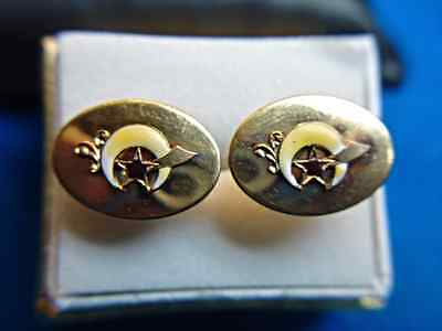 Vintage Shriners Cufflinks - Nicely Enameled - Nice Condition