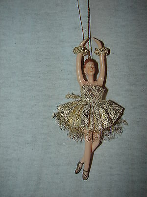 Ballerina Doll Christmas Ornament - Gold  Dress
