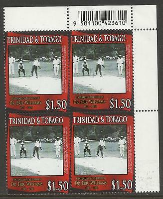 TRINIDAD & TOBAGO 2011 Dr Eric Williams CRICKET top right Corner BLOCK MNH