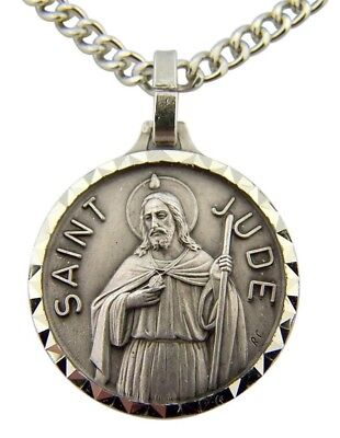 French Nickel Silver Patron Saint St Jude the Apostle Medal with Chain Necklace