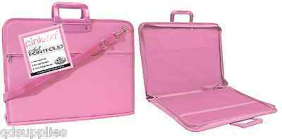 1 X Pink A3 Artist Portfolio Painting Drawing Storage Zip Up Carry Case Pa-Folio