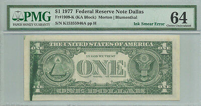 1977 $1 Ink Smear Error PMG 64 Federal Reserve Note Choice Unc Bill Dallas