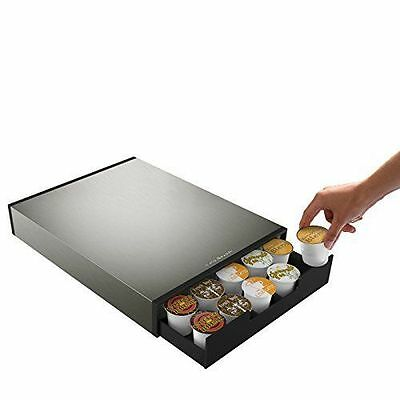 "NEW NIB  Mind Reader ""Tinny"" 35 Capacity Metal Coffee Pod Drawer  Silver/Black"