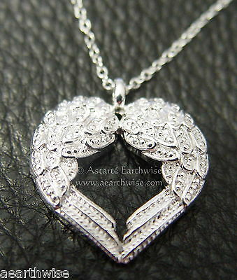 ANGEL WINGS HEART PENDANT WITH CHAIN Wicca Witch Pagan Goth Reiki