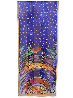 LAUREL BURCH 100% Pure Silk SCARF Wrap Throw ONCE IN A BLUE MOON Cat Star Sun