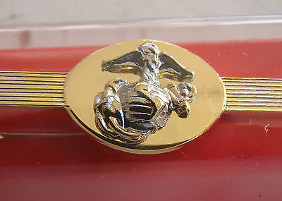 Usmc Us Marine Corps All Officer Ranks Tu-Tone Silver & Gold Necktie Tie Bar Ip