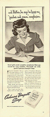 1941 Vintage ad for Cashmere Bouquet Soap~Art/Girl writing letter (091713)