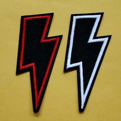 Thunder Flash Iron on Sew Patch Applique Badge Embroidered Biker Band Rock Punk