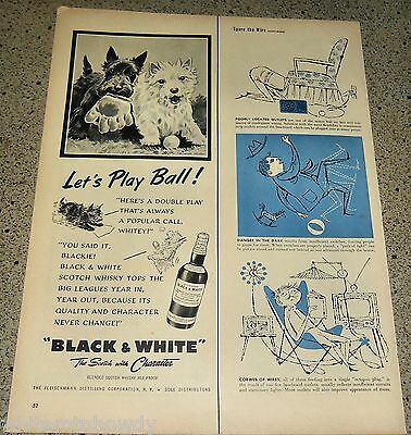 1954 Black White Scotch Scottish Terrier West Highland Westie Let's Play Ball Ad