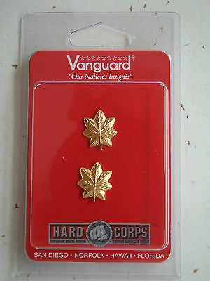 Usmc Us Marine Corps O-4 Maj Major's Gold Shirt Collar Rank Insignia Pair