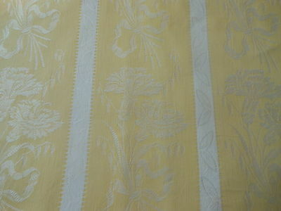 Antique Vintage French Yellow Carnation Floral Stripe Cotton Damask Fabric