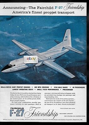 Fairchild Airplane Company F-27 Friendship At Night 1956 Ad