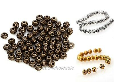 Antique Silver/Gold/Bronze Tibetan Silver Metal Spacer Beads Findings, 5mm