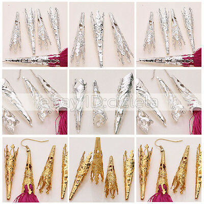 Wholesale 25/50Pcs 41x8mm Filigree End Bead Caps Long Cones  Gold/Siver 2 Style