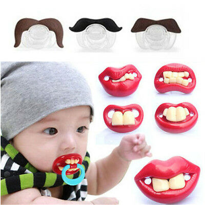 Funny Dummy Dummies Pacifier Novelty Teeth Moustache Baby Child Soother
