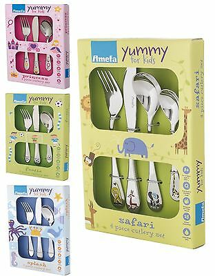 Amefa Stainless Steel Kids Childs Cutlery Set, 3 or 4 Pce, 4 Designs