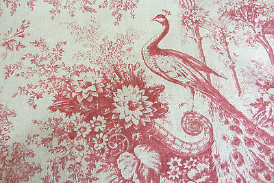 Peon French Linen Toile Rouge Curtain/Craft /Upholstery Fabric