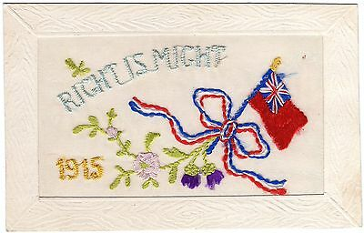 Ww1-Embroidered Silk Postcard Right Is Might-Red Ensign(Royal Navy) & Flower