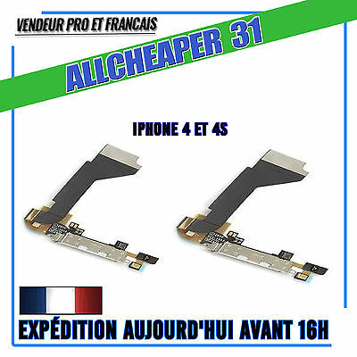 Connecteur De Charge Iphone 4 4S Nappe Dock + Micro Pour Iphone 4 4S Noir Blanc