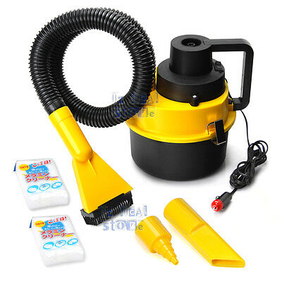 Portable Car Vehicle Auto Dust Handheld Vacuum Cleaner Wet & Dry 12V Yellow NEW