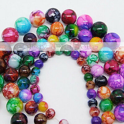 New 6mm 8mm 10mm Mixed Round Chic Glass Loose Spacers Painted Pearl Charm Beads