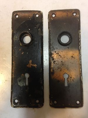2 Antique Vintage  Arts Crafts Shabby  Door Knob Key Hole Plate Parts