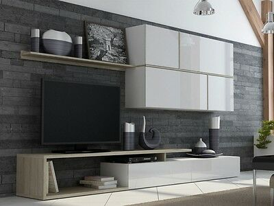 georg wohnwand tv wand schrankwand wohnzimmerm bel wei hochglanz dekor eiche eur 449 00. Black Bedroom Furniture Sets. Home Design Ideas